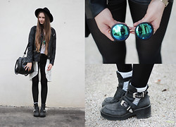 Alina Reinisch - Forever 21 Glasses, Jeffrey Campbell Coltrane Boots, H&M Lace Cardigan, Forever 21 Jacket, Oasap Hat - Blue world