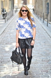 Paris Grenoble - Sheinside Top, H&M Short, Balenciaga Bag, Sacha Cut Out Boots - Blue Lys