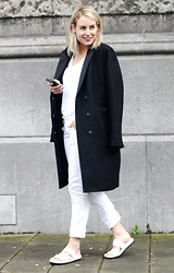 Lian G. - H&M Coat, H&M Top, Vagabond Sandals - White Sandals