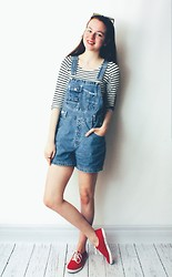 Olivia DeGrado - Thrifted Denim Dungarees, Striped Crop Top, Keds Red - Dungarees & Stripes