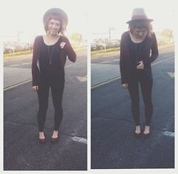 Abbie Marie - Thrifted Hat, Target Carpet Sweater, Thrifted Lace Tank, Forever 21 Pointed Ankle Straps - Paparazzi caught me (aka boyfriend)