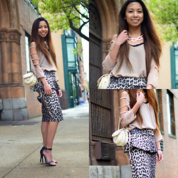Melanie P. - Rings And Tings Necklace, Swaychic Top, Charlotte Russe Purse, Anne Michelle Heels, Wearall Skirt - Mirrors & Leopard