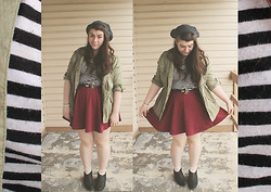 Katie - Knit Beanie, Anorak, Striped Tee, Skater Skirt, Ankle Boots - Beneath the Durban Sky