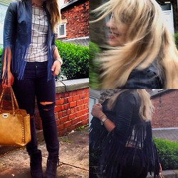 Jess Atkinson - Persun Windowpane Tee, Topshop Fringe Leather Jacket - Kate Moss x Topshop
