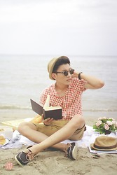 Andrew Pablico - Ray Ban Clubmasters, Andre By Mags Checkered Shirt, Andre By Mags Khaki Shorts, Sebago Boat Shoes - Beach Bum