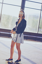 Anna Kot - Romwe Dark Silver Cat Eyed Sunglasses, Romwe Lapel Zippered Self Tied Sheer Black Jacket, Asos Bow Back Skater Dress, The Leather Satchel Company Metallic Silver, H&M Black Leather Slip Ons - Subway chic