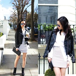 Sher-Fyonn Chua - Asos Skirt, Mango Shirt, H&M Jacket, & Other Stories Clutch, New Look Boots, Asos Shades - Flat White in Stripes