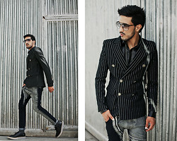 Mohcine Aoki - Byther Windsor Striped Suit Jacket, Byther Faux Leather Zipper Point Shirts, Zealotries Ba'al Pant, Zealotries Jose Shoes - #Stripes (NEW VIDEO - DESCRIPTION)