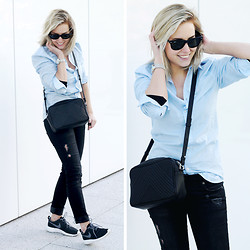 Lian G. - H&M Blouse, H&M Jeans, Nike Sneakers - A Little Blue