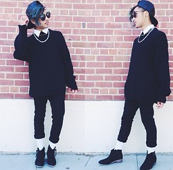 Mikhael S - Faux Leather Snapback, Divided Button Up, Thrifted Chains, Thrifted Black Knit Sweater, Rude Black Skinnies, Black Studded Boots - Ima Read