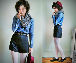 Sophia Mayrhofer - H&M Aztec Scarf, Thrifted Chambray Button Up, Thrifted Leather Belt, Frontrowshop Shorts With Scallop Hem, H&M Textured Tights, Forever 21 Burgundy Hat, Dolce Vita Studded Brogues - The world begins at the end of your comfort zone