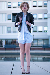 Rowan Reiding - Bluegold Lucca Black Leather Biker Jacket Motorcycle Mc, Zara White Oversized Shirt, H&M Striped Pj Pyjama Shorts Alexander Wang Suit, Zara Black Strappy Sandals - LUCCA