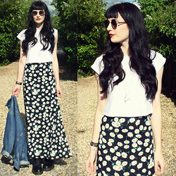 Kayleigh B - Floral Skirt, Romwe Sunglasses - All Apologies
