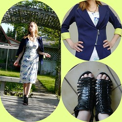 Sarah Marceau - Scarlett Vintage Dress, Made In Hawaii, Dido, Romantic Home Blue Neon Blazer, Marks Work Warehouse Quad Confort Wedges - Blue Hawaiian