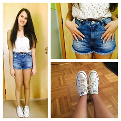 G C - Converse All Star, Primark Crochet Top, Zara High Waisted Shorts, Primark Belt, Primark Rings - Summer's coming