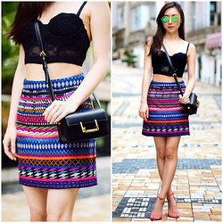 Monica W - Topshop, Lace Bralet, Ray Ban Ray Ban - Outfit of the day: TOPSHOP PATTERNED BLANKET ALINE SKIRT + L