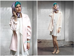 Gvozdeva Anastasia - Stradivarius Coat, Topshop Dress, H&M Kerchief, Zara Shoes, Swatch Blue Series -  candyfloss