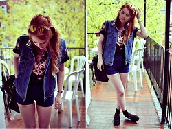 Rebecca A - Asos Creepers, Zara Shorts, 2hand Jean Jacket, American Apparel T Shirt - Blue Blue