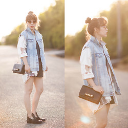 Ivy Xu - Zara Denim Vest, H&M Crochet Shawl, Valentino Bag, Yes Boots - Early summer