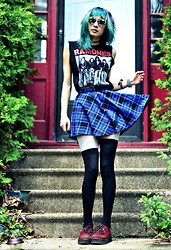Drowsy Dame - Pacsun High Waisted Blue Skater Skirt, Ebay Creepers, Boyfriends ? Ramones Shirt, Similar Here Sunglasses - Tiger Escort