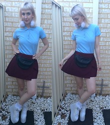 Kate Hannah - I Made This The Label White Pom Pom Earrings, Polo Shirt (Thrifted), Leather Fanny Pack (Thrifted), Pleated Skirt, Yru Qozmo Platform - Sporty ~meets~ Nerdy
