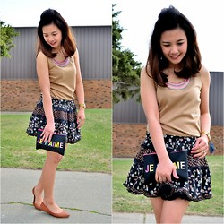 Pearl Yao - Marks And Spencer Top, Primark Skirt, Forever 21 Purse, Ardene Flats - Je t'aime