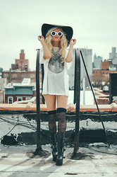 Rachel Lynch - Nasty Gal Black Floppy Hat, Wildfox Couture White Sunnies, Wildfox Couture Moon Tee, House Of Harlow Lace Thigh Highs, Demoina Boots - My nights aren't meant for sleeping