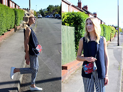 Charlotte Lewis - Zara Vertical Stripe Trousers, Zara Navy Waistcoat, H&M Snakeprint Across Body Bag - Nautical Stripes Street Style