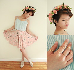 Julie Đặng - Bdg Chambray Crop Top, Urban Outfitters Floral Circle Skirt, Big Buddha Floral Chukka Boots, Handmade Floral Crown, H&M Gold Rings - Presence of a Goddess
