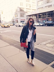 Kayla Castro - Dolce & Gabbana Sunglasses, Joe's Jeans Leather Jacket, H&M Kimono, Joe's Jeans Black Skinny, Diesel Open Toe Booties, Rebecca Minkoff Mac Bag - No Sleep 'till Manhattan