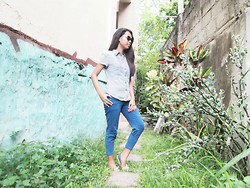 Krystel Galos - Meters/Bonwe Checkered Polo, New Lover Blue Cropped Jeans - Tuesday-Blues