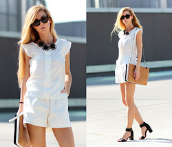 Sirma Markova - Sheinside Chiffon Blouse, Spektre Cat Eye Shape Sunglasses, Stradiviraius Sandals, Zara Bag - Double White
