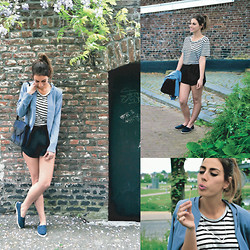 FEEblog - Selected Femme Blazer, Samsoe & T Shirt, Pop Cph Shorts, Toms Shoes, The Boyscouts Necklace, Obey Bag - Dreamy Lavender