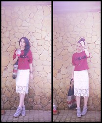 Sy. Muzdalifah - No Brand Cherry Red Top, No Brand Lacey Skirt, Airwalk Sneaker Wedges - LONDON IS MY DREAM