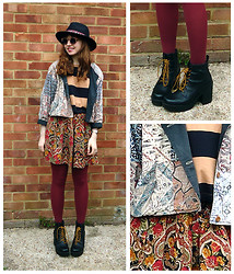 Emily May - Urban Outfitters Black Fedora With Aztec Trim, Was My Mum's Patterned Jacket, Urban Outfitters Striped T Shirt, Cow Vintage Orange Paisley Print Skirt, New Look Burgundy Opaque Tights, Vagabond Black Leather Boots - Paisley Patterns