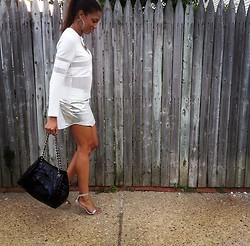 "Brittney Owens Cortney Walker - Kasual Lux White Mesh ""Peek A Boo"" Shirt, Kasual Lux Metallic Mini Skirt, Chanel Patent Leather Silver Hardware Bag - Whites And Metallics"
