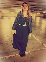 Beatrice Calcagno - Tezenis Maxi Dress, Pimkie Leather Jacket, Zara Belt, Bijou Brigitte Necklace, Mauro Leone Bikers - Lana del Rey mood