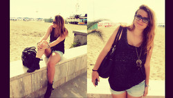 Beatrice Calcagno - H&M Vest, Jennyfer Necklace, H&M Shorts, Urban Outfitters Bag, Mauro Leone Bikers, Ray Ban Sunglasses - Viareggio seaside