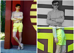 Dylan Valente - Zadig & Voltaire Shirt, Ymc Yellow Short, Anderson's Colorful Belt, Persol Sunglasses - Bring Colors Back
