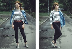 Helen - Topshop High Waisted Jeans, H&M Blouse, Zara Jacket, H&M Skaters, Massimo Dutti Belt - Simple things