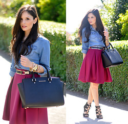 Alba . - Chic Wish Skirt, Sheinside Shirt - ...Denim & Burgundy...
