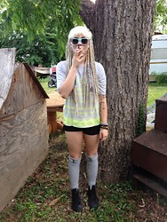 Mads Glocka - J. Crew Top, Urban Outfitters Thigh High Socks, Converse High Tops - I dont give a