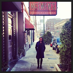 Mary Anderson - Kenneth Cole Coat - A Cold, Collegiate Day in Memphis