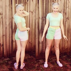 Sarah Peters - Supre Crop Top, American Apparel Pastel Colour Block Shorts, Jelly Beans Sandals - Rainbow icecream