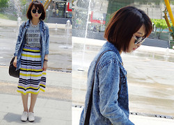 Rika J. - Asos Necklace, Denim Shirt, Uniqlo T Shirt, Selina Kuo X Rica Juang Skirt - I am OTHER
