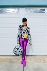 Daniela Nutz - Electroshock Xchange Alien Glow In The Dark Necklace, Electroshock Xchange Flower Pattern Top, Nasty Gal Flower Jacket, Smiley Face Hologram, American Apparel Purple Disco Pants, Converse Platforms Sneakers - Smiley Face