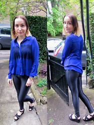 Joanne Kilday - Topshop Blouse, American Apparel Disco Pants, Primark Sandals - Black & Blue