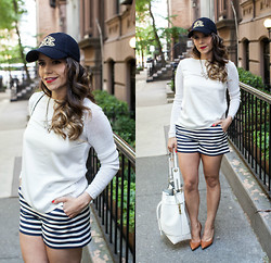 Olivia J -  - Striped Shorts + Baseball Hat