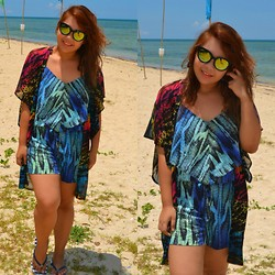 Dana Lopez - Guess? Blue Romper, Simone's Closet Printed Kimono, Sunnies By Charlie - Cagbalete