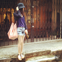 Ayu Pixie - Cos Tote Bag, Jack Wills Umbrella, No Brand Vintage Jeans, H&M Hat, Hollister Cadigan - : Weekend and Sunshine Finally